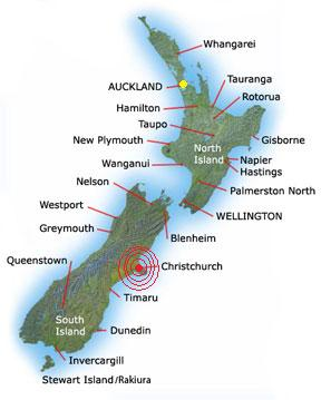New Zealand Christchurch Earthquake Location map