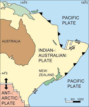 New Zealand plate tectonic map