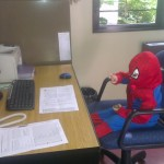 Spiderman in Mr Prettejohn's Office!